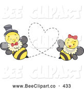 Cartoon Vector Clip Art of a Romantic Bee Couple Forming a Heart by BNP Design Studio