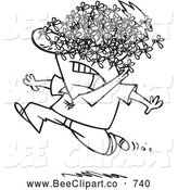 Cartoon Vector Clip Art of a Scared Man Being Attacked by a Swarm of Bees by Toonaday