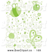 Cartoon Vector Clip Art of a Set of Green Doodled Bugs by Cory Thoman