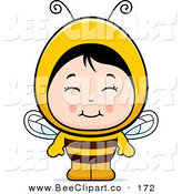 Cartoon Vector Clip Art of a Smiling Asian Girl in a Bee Costume by Cory Thoman