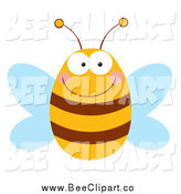 Cartoon Vector Clip Art of a Smiling Chubby Bee by Hit Toon