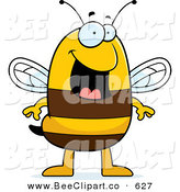Cartoon Vector Clip Art of a Smiling Happy Striped Bee Character Standing by Cory Thoman