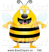 Cartoon Vector Clip Art of a Smiling Plump Black and White Bee Standing Proud by Cory Thoman
