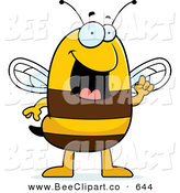 Cartoon Vector Clip Art of a Smiling Smart Bee with an Idea by Cory Thoman