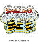 Cartoon Vector Clip Art of a Spelling Bees in a Cloud by Cory Thoman