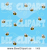 Cartoon Vector Clip Art of a Swarm of Bees in a Patterned Blue Sky by Cory Thoman