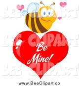 Cartoon Vector Clip Art of a Sweet Bee over a Red Be Mine Valentine Heart by Hit Toon