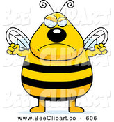 Cartoon Vector Clip Art of a Tall Plump Angry Bee Getting Ready to Punc by Cory Thoman