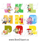 Cartoon Vector Clip Art of a Visual Alphabet J Through R with People, Animals and Bugs by Hit Toon