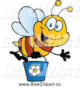 Cartoon Vector Clip Art of a Waving Bee Flying with a Bucket by Hit Toon