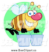 Cartoon Vector Clip Art of a Worker Bee with Two Buckets over a Green Circle by Hit Toon