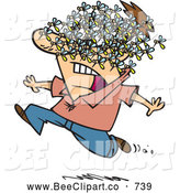 Cartoon Vector Clip Art of a Worried Cartoon Man Being Attacked by a Swarm of Bees by Toonaday