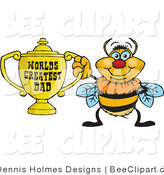 Cartoon Vector Clip Art of a Yellow Bumble Bee Character Holding a Golden Worlds Greatest Dad Trophy by Dennis Holmes Designs
