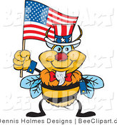 Cartoon Vector Clip Art of an American Patriotic Uncle Sam Bumble Bee Waving an American Flag on Independence Day by Dennis Holmes Designs