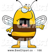 Cartoon Vector Clip Art of an Angry Bee Pointing to the RIght by Cory Thoman