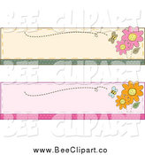 Cartoon Vector Clip Art of Bee and Flower Website Banners by BNP Design Studio