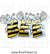 December 13th, 2014: Cartoon Vector Clip Art of BEE Letters Smiling by Cory Thoman