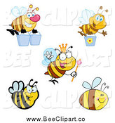 Cartoon Vector Clip Art of Bees by Hit Toon