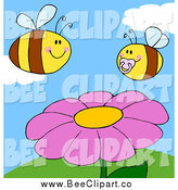 Cartoon Vector Clip Art of Chubby Baby and Parent Bees over a Pink Flower on a Sunny Day by Hit Toon
