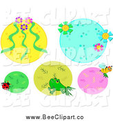 Cartoon Vector Clip Art of Floral, Insect and Frog Frames by Bpearth