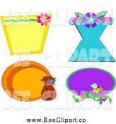 Cartoon Vector Clip Art of Flower and Bee Designs by