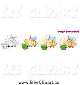 Cartoon Vector Clip Art of Happy Birthday Text and Bees by Hit Toon