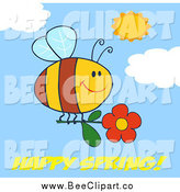 Cartoon Vector Clip Art of Happy Spring Text Under a Bee Flying with a Red Daisy Flower in a Sunny Sky by Hit Toon