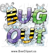 Cartoon Vector Clip Art of Insect Letters Spelling Text: BUG oUT by Cory Thoman