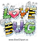 Cartoon Vector Clip Art of Insect LOVE BUG Letters by Cory Thoman