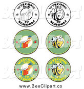 Cartoon Vector Clip Art of Welcome Back to School Bees and Worms Designs by Hit Toon
