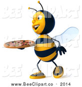 Clip Art of a 3d Bee Carrying a Pizza by Julos