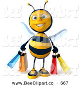 Clip Art of a 3d Bee Character Carrying Shopping Bags on a Shopping Spree by Julos