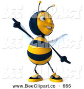 Clip Art of a 3d Bee Character Dancing on White by Julos