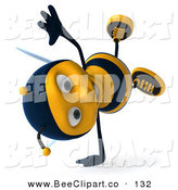 Clip Art of a 3d Bee Character Doing a Hand Stand on White by Julos