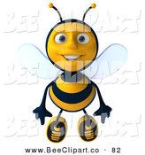 Clip Art of a 3d Bee Character Flying Forward by Julos