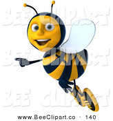 Clip Art of a 3d Bee Character Flying Left and Pointing to the Left by Julos