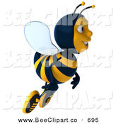 Clip Art of a 3d Bee Character Flying to the Right by Julos