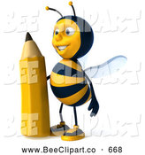 Clip Art of a 3d Bee Character Holding a Pencil on White by Julos