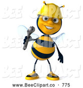 Clip Art of a 3d Bee Character Holding a Wrench and Smiling by Julos