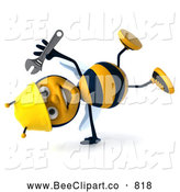 Clip Art of a 3d Bee Character Holding a Wrench in Hand by Julos