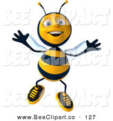 Clip Art of a 3d Bee Character Jumping up and down by Julos