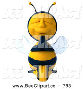 Clip Art of a 3d Bee Character Meditating Peacefully by Julos