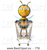Clip Art of a 3d Bee Character Riding in a Shopping Cart by Julos