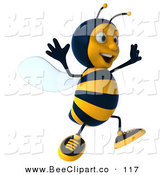 Clip Art of a 3d Bee Character Running off to the Right by Julos
