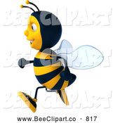 Clip Art of a 3d Bee Character Running to the Left by Julos