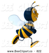 Clip Art of a 3d Bee Character Running to the Right by Julos