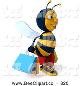 Clip Art of a 3d Bee Character Shopping and Looking Right by Julos