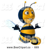 Clip Art of a 3d Bee Character Sitting and Meditating While Looking Right by Julos