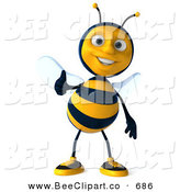 Clip Art of a 3d Bee Character Smiling and Holding a Thumb up by Julos