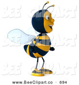 Clip Art of a 3d Bee Character Standing and Facing Right on White by Julos